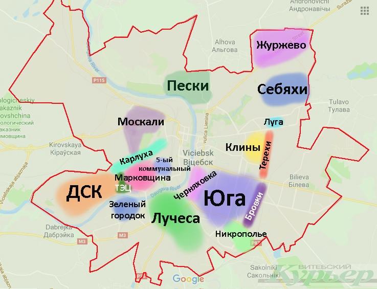Народная карта районов Витебска