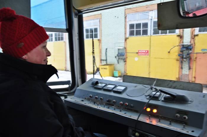 Вид из кабины трамвая