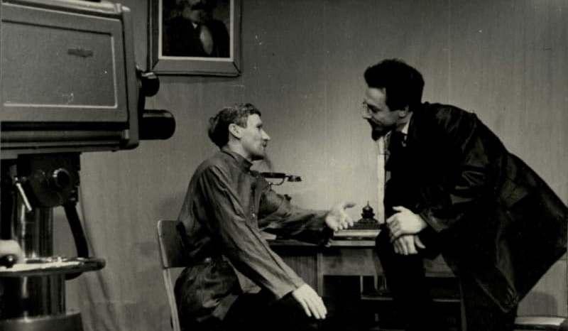 Съемка телефильма «Страницы жизни великой». В роли Якова Свердлова актер БДТ имени Якуба Коласа Марат Шелутко. 1963 год
