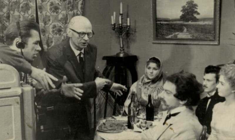 Съемка телефильма «Осенний букет» с участием актеров колосовского театра. 1964 год