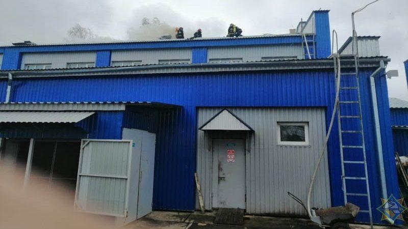 пожар на предприятии в Шумилино