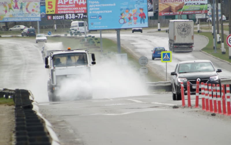 Дезинфекция улиц в Полоцке