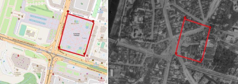 Площадь Победы на современной карте и в 1941 году