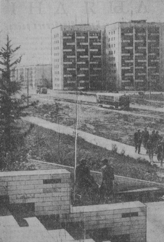 1973 год. Трамвай идет по проспекту Фрунзе к восточному промузлу