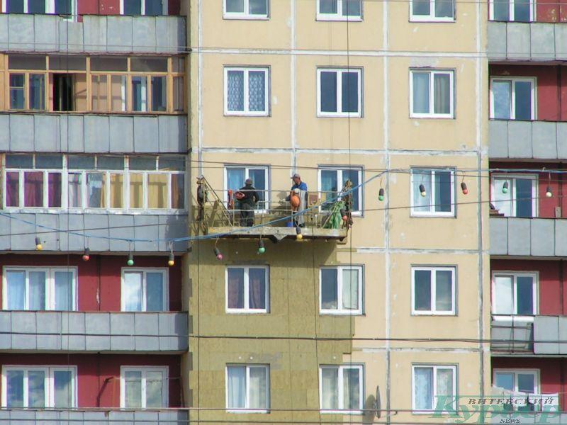 Июль 2009 года. Утепление 9-этажки на площади Победы