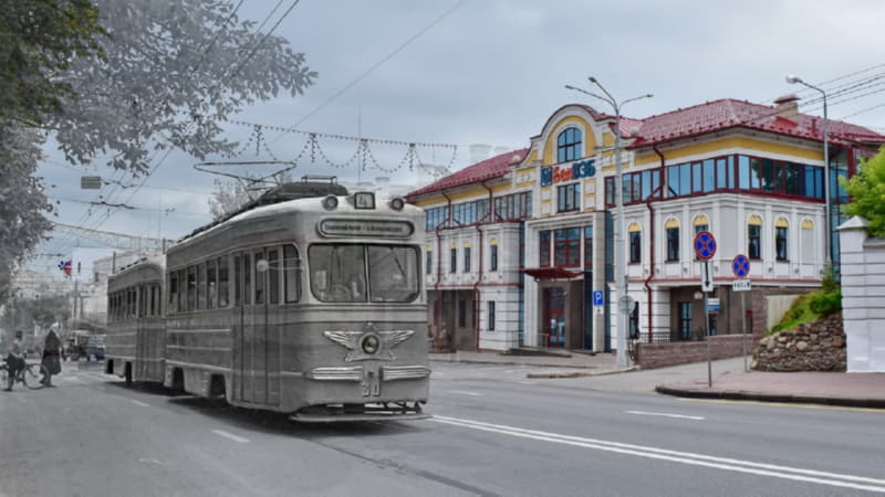 Фотопроекция трамвая на витебских улицах