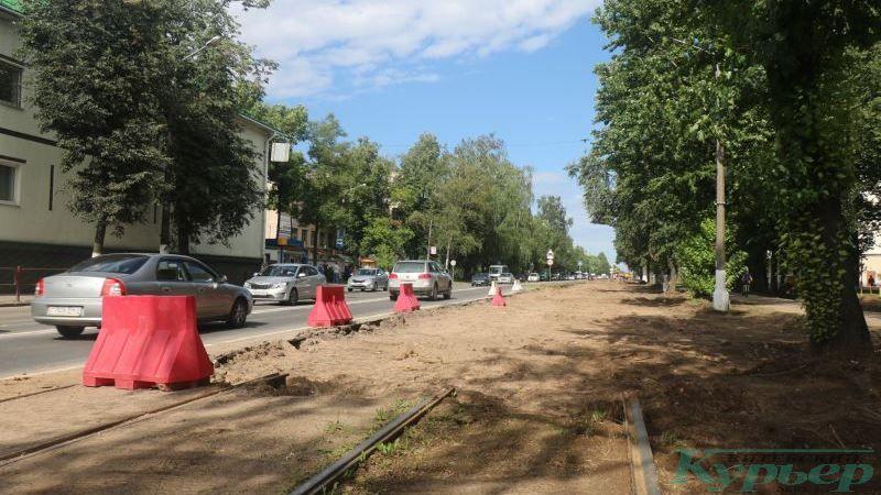 Окончание рельсов на повороте на улицу Гагарина