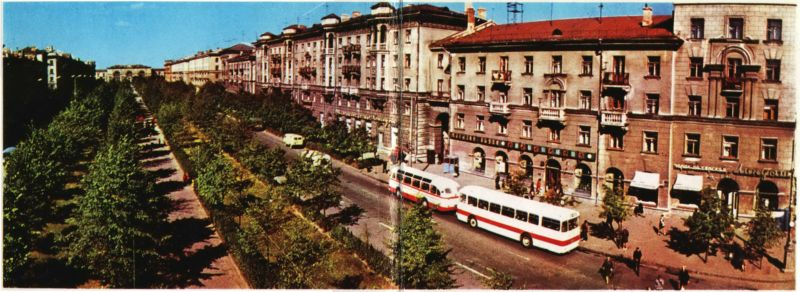 "1974 год. ""Икарусы"" на улице Кирова"