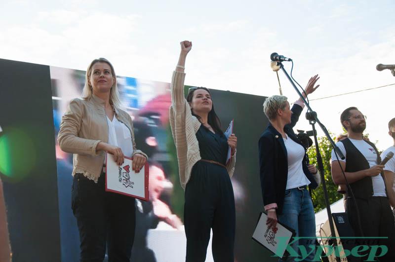 Тихановская Колесникова Цепкало на встрече в витебске
