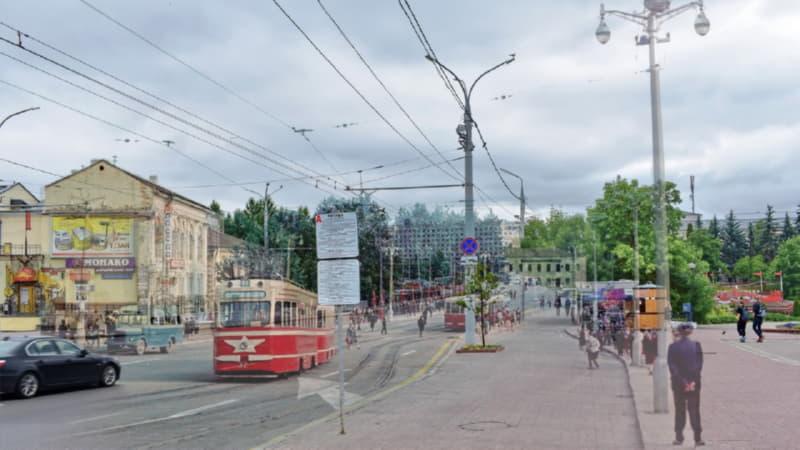 Фотопроекция трамвая в Витебске