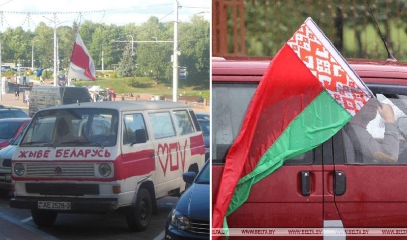 """""""Жывемабіль"""" и машина с красно-зеленым флагом"""