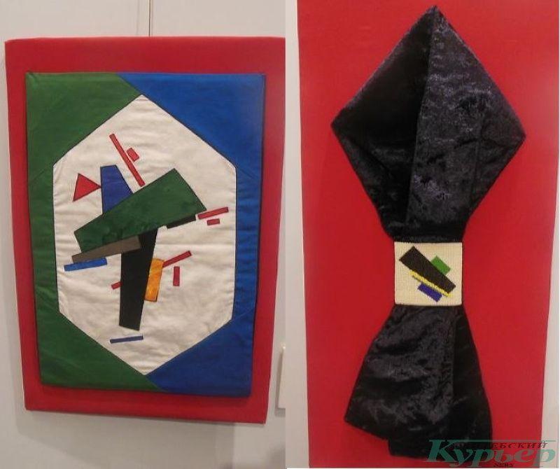 Подушка и шарф, созданные по эскизу Казимира Малевича