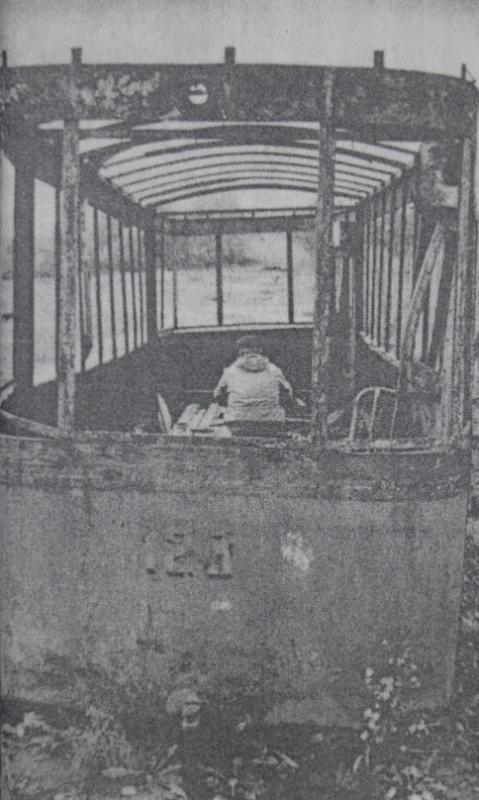 1992 год. Старый трамвайный вагон в парке Мазурино