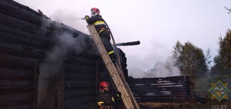 пожар ушачи пожарный на леснице