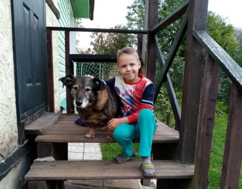Внук с собакой