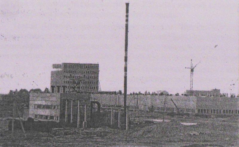 1977 год. Первый производственный корпус телезавода и временная котельная